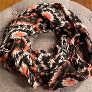 Accessories - Coral Black & Cream Light weight scarf